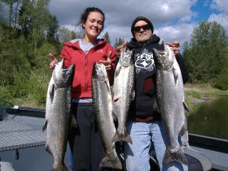 Father and daughter show off their Cowlitz River Salmon and Steelhead
