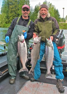 Walt and Mike with Spring Chinnook Salmon